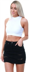 Parisian White Rib Knit High Neck Crop Top