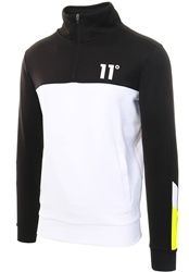11degrees Black / White/ Lime Neo Full Zip Poly Track Top