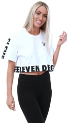11degrees White Printed Panel Cropped T-Shirt