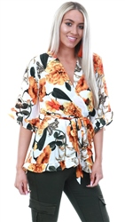 Ax Paris Orange Floral Frill Wrap Top