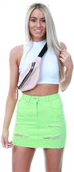 Parisian Neon Green Distressed Frayed Hem Denim Mini Skirt