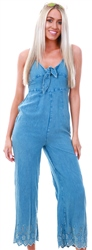 Influence Blue Denim Crochet Strap Jumpsuit