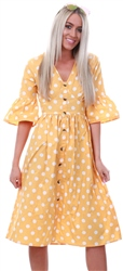 Influence Yellow Polka Dot Button Midi Dress