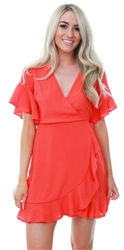 Ax Paris Orange Frill Detail Wrap Dress
