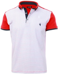 Alex & Turner Red White Pattern Polo Shirt
