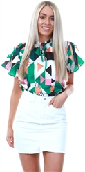 Cutie London Green Multi Print Pattern Blouse