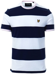 Lyle & Scott Navy Wide Stripe Ringer T-Shirt