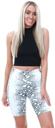Parisian Grey Snake Print Cycling Shorts