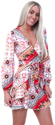 Parisian Floral Scarf Print Wrap Mini Dress
