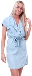 Noisy May Blue / Light Blue Denim Short Sleeved Shirt Dress