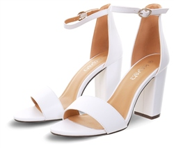 Krush White Pu Block Heel Shoe