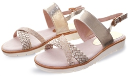 Marco Tozz Sliver Cross Over Strap Sandal