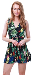 Ax Paris Black Tropical Print Pleated Playsuit