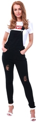 Dv8 Black Denim Ripped Dungaree Jumpsuit