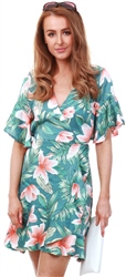 Ax Paris Green Floral Wrap Front Frill Detail Dress