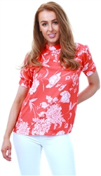 Fashion Union Coral / Red Floral Top