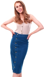 Dv8 Blue Midi Denim Button Skirt