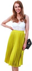 Lexie & Lola Lime Green Crinkle Midi Skirt