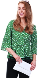 Green Reena Geo Print Drape Top by Lexie & Lola