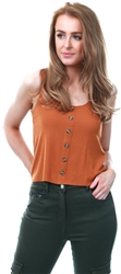 Only Sugar Almond Minka Vest Button Top