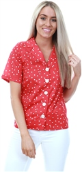 Cutie London Red Polka Open Collar Shirt