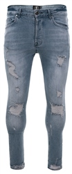 Gym King Light Wash Blue Skinny Denim Jean Rip And Repair