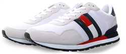 Hilfiger Denim White /Navy Logo Trainer