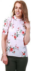 Fashion Union Peachy Floral Print Short Sleeve Top