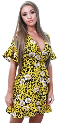Ax Paris Yellow Animal Print Dress With Floral Detail