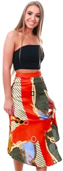 Ax Paris Orange Chain Printed Midi Skirt