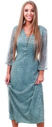 Pieces Green Marie Polka Dot Long Dress
