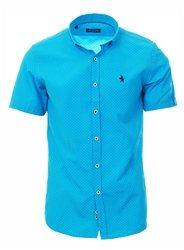 Alex & Turner Turquoise Paisley Print Short Sleeve Shirt