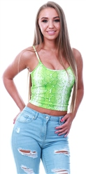 Parisian Green Snake Print Strappy Crop Top