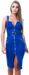 Parisian Blue Zip Up Front Self Belt Denim Dress