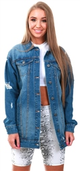 Noisy May Blue Ripped Long Denim Jacket