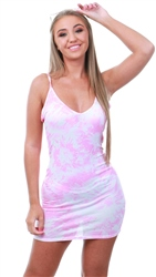 Parisian Pink Tie Dye Bodycon Dress