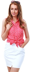 Brave Soul Red Polka Dot Tie Top