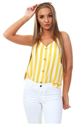 Only Bright White Yellow Button Top