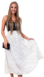 Qed White Polka Dot Skirt