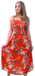 Jdy Orange Tropical Printed Dress