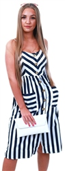 Qed Navy/White Stripe Button Midi Dress