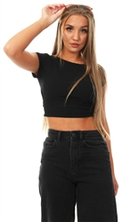 Missi Lond Black Ribbed Crop Top