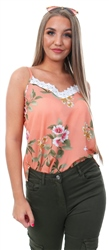 Style London Pink Lace Trim Cami Top
