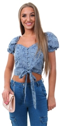 Qed Denim Milkmaid Puff Sleeve Top