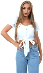 Qed White Milkmaid Puff Sleeve Top