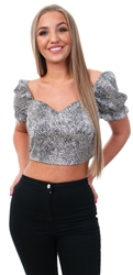 Qed Animal Print Puff Sleeve Crop Top