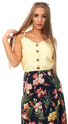 Qed Lemon Button Strap Top