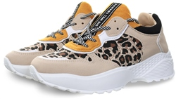 No Doubt Yellow Leopard Print Chunky Trainer