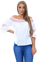 Influence White /Red Bardot Top