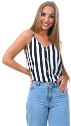 Only Bright White Lea Singlet Button Top
